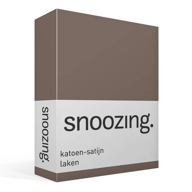 Snoozing - Katoen-satijn - Laken - Eenpersoons - 280x300 - Bruin
