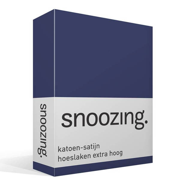 Snoozing - Katoen-satijn - Hoeslaken - Extra Hoog - 150x200 - Navy