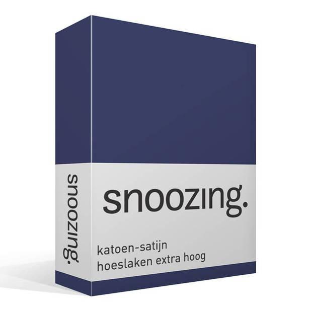 Snoozing - Katoen-satijn - Hoeslaken - Extra Hoog - 90x220 - Navy