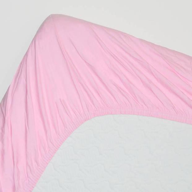 Snoozing - Katoen-satijn - Hoeslaken - Extra Hoog - 140x220 - Roze