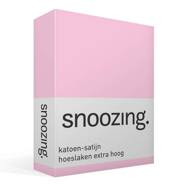 Snoozing - Katoen-satijn - Hoeslaken - Extra Hoog - 90x220 - Roze