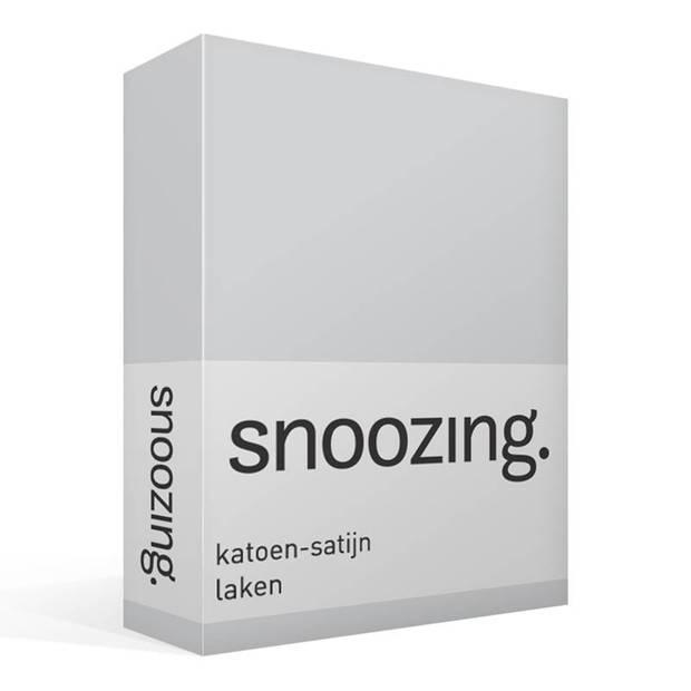 Snoozing - Katoen-satijn - Laken - Eenpersoons - 200x260 - Grijs