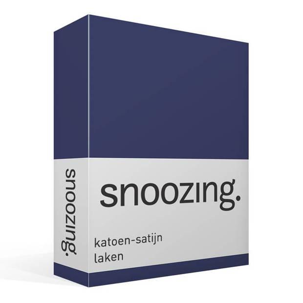 Snoozing - Katoen-satijn - Laken - Eenpersoons - 280x300 - Navy