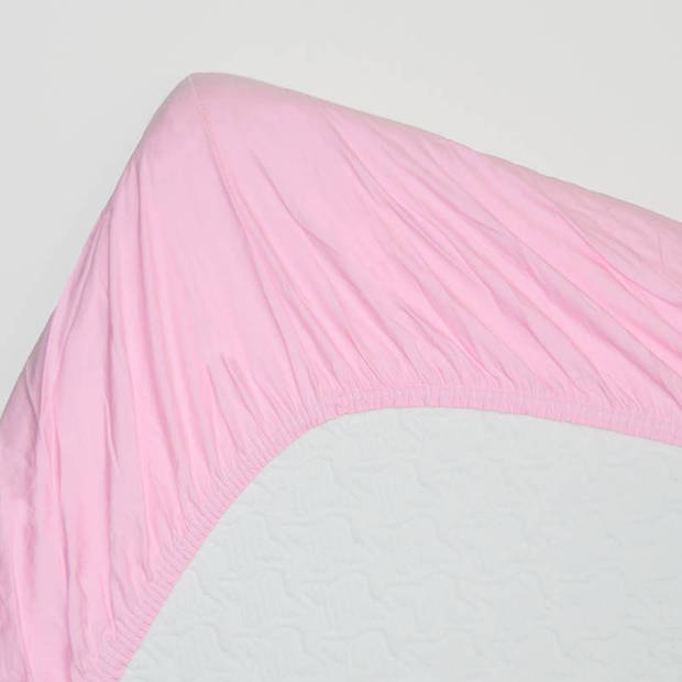 Snoozing - Katoen-satijn - Hoeslaken - 90x200 - Roze