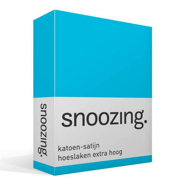 Snoozing - Katoen-satijn - Hoeslaken - Extra Hoog - 160x200 - Turquoise