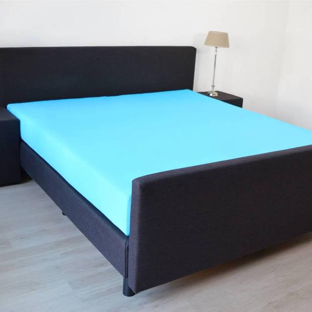 Snoozing - Katoen-satijn - Hoeslaken - Extra Hoog - 90x210 - Turquoise