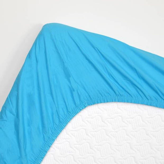 Snoozing - Katoen-satijn - Hoeslaken - Extra Hoog - 200x200 - Turquoise