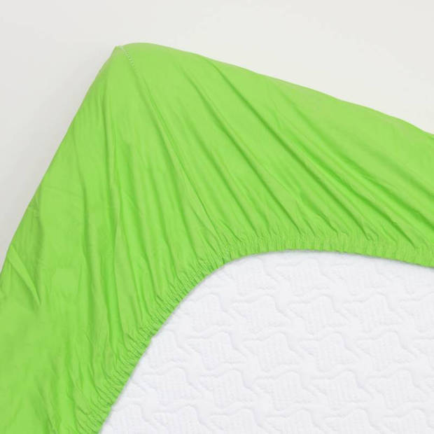 Snoozing - Katoen-satijn - Hoeslaken - Extra Hoog - 80x200 - Lime