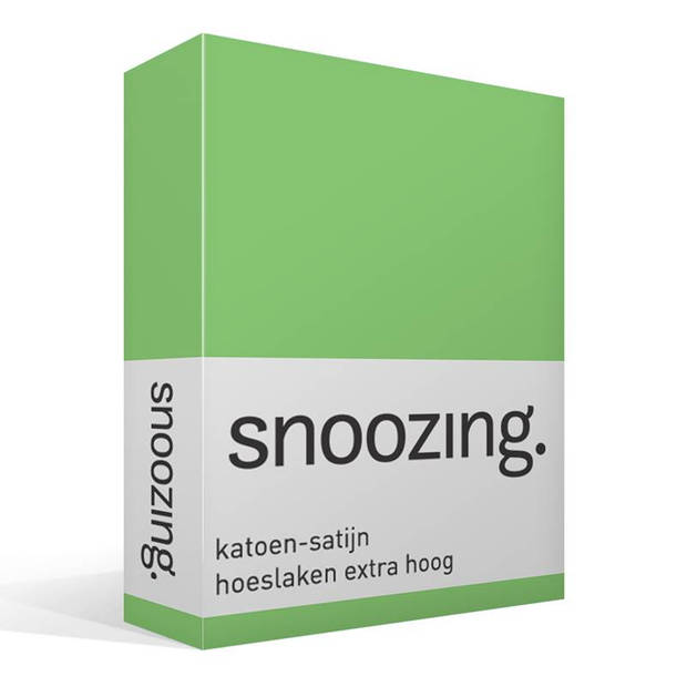 Snoozing - Katoen-satijn - Hoeslaken - Extra Hoog - 80x220 - Lime