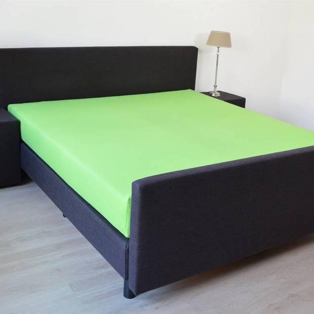 Snoozing - Katoen-satijn - Hoeslaken - Extra Hoog - 90x200 - Lime