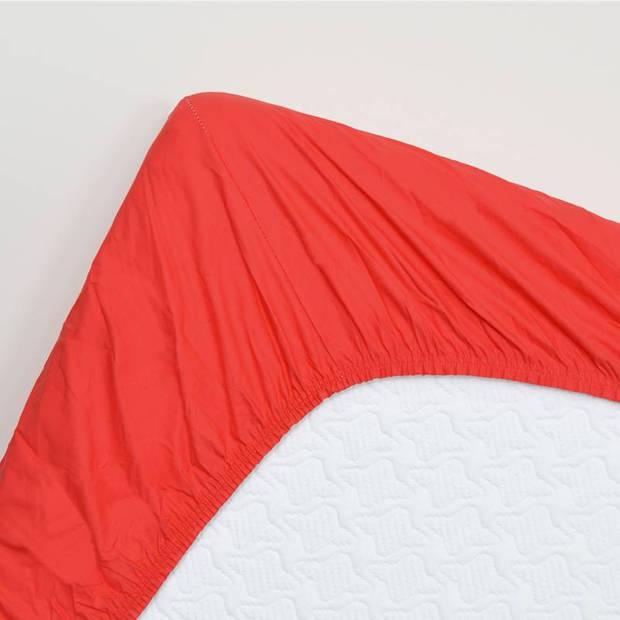 Snoozing - Katoen-satijn - Hoeslaken - Extra Hoog - 140x220 - Rood