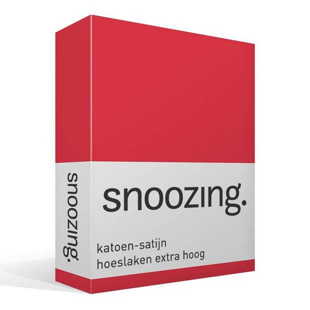 Snoozing - Katoen-satijn - Hoeslaken - Extra Hoog - 90x220 - Rood