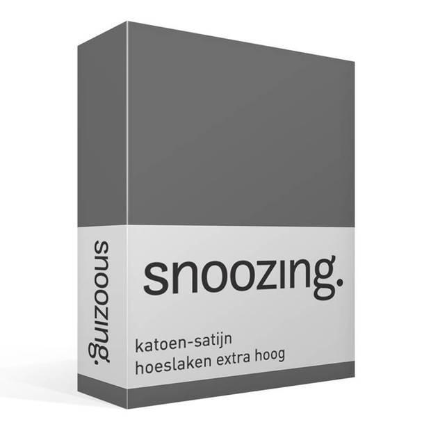 Snoozing - Katoen-satijn - Hoeslaken - Extra Hoog - 90x200 - Antraciet