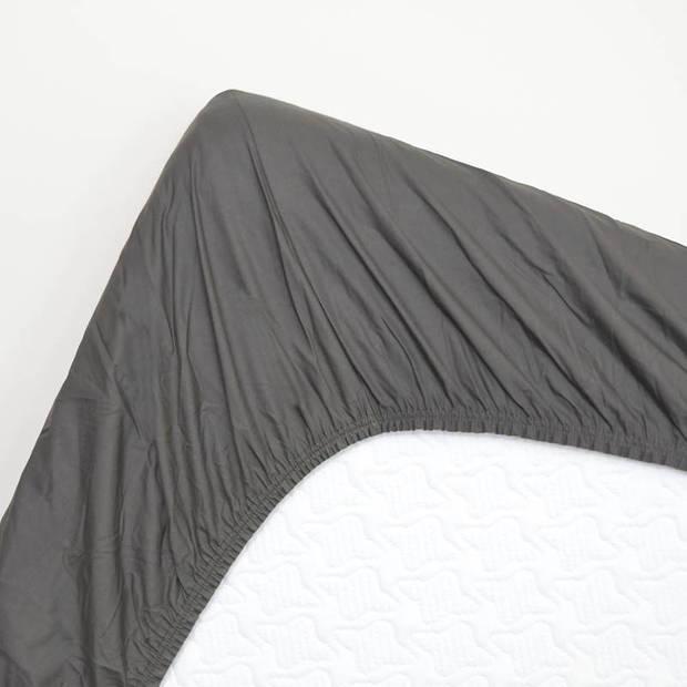 Snoozing - Katoen-satijn - Hoeslaken - Extra Hoog - 120x220 - Antraciet