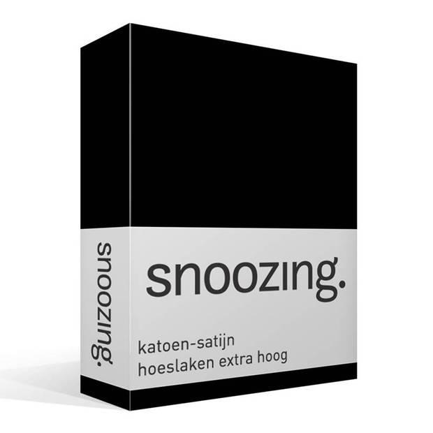 Snoozing - Katoen-satijn - Hoeslaken - Extra Hoog - 90x220 - Zwart