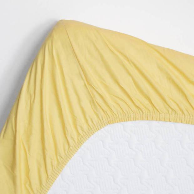 Snoozing - Katoen-satijn - Hoeslaken - Extra Hoog - 100x200 - Geel