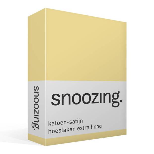 Snoozing - Katoen-satijn - Hoeslaken - Extra Hoog - 80x220 - Geel