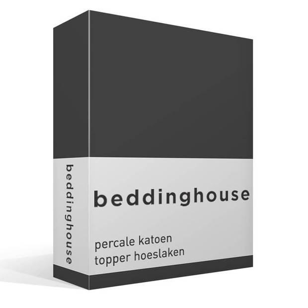 Beddinghouse percale katoen topper hoeslaken - 100% percale katoen - 2-persoons (140x210/220 cm) - Anthracite