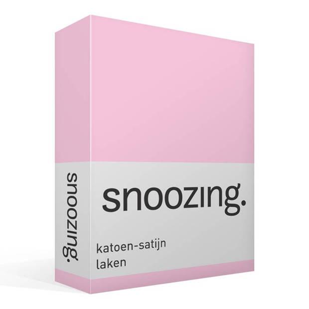 Snoozing - Katoen-satijn - Laken - Eenpersoons - 280x300 - Roze