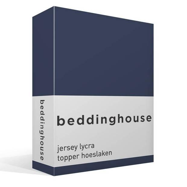 Beddinghouse jersey lycra topper hoeslaken - 95% gebreide katoen - 5% lycra - 1-persoons (90/100x200/220 cm) - Indigo
