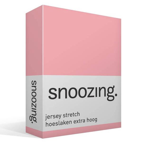 Snoozing Stretch - Hoeslaken - Extra Hoog - 120/130x200/220/210 - Roze