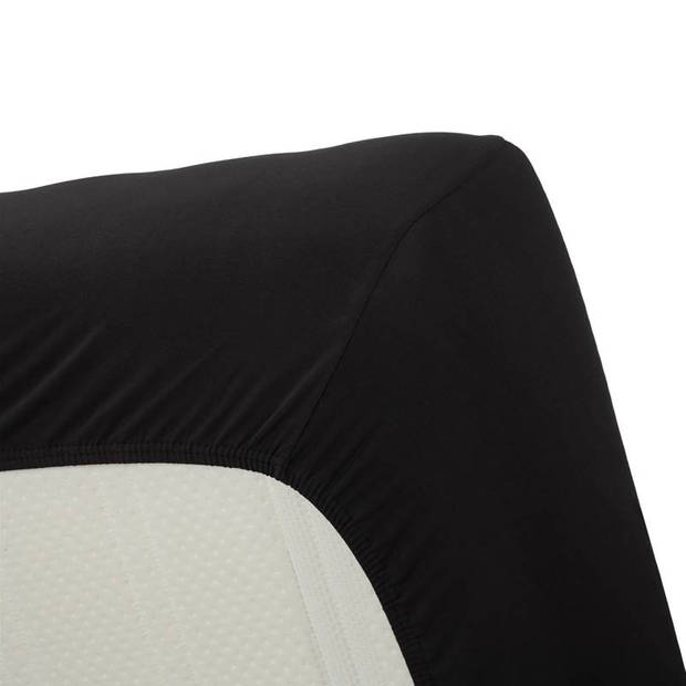 Beddinghouse jersey lycra hoeslaken - 95% gebreide jersey katoen - 5% lycra - 1-persoons (70/80x200/220 cm) - Black