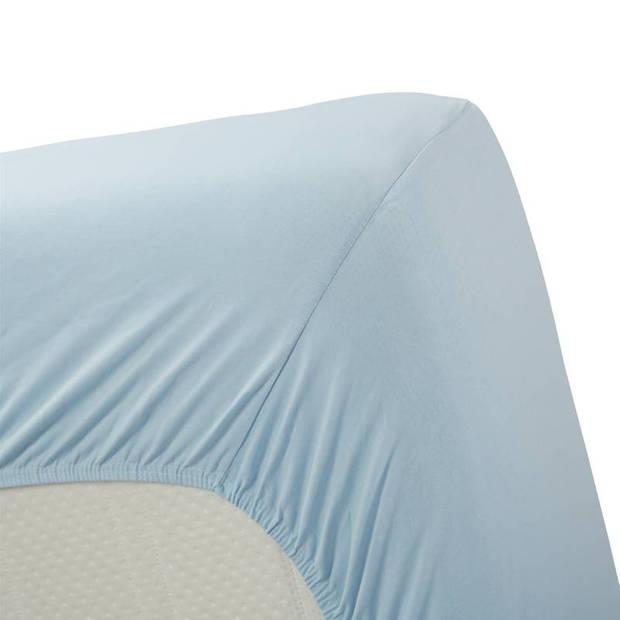 Beddinghouse jersey lycra hoeslaken - 95% gebreide katoen - 5% lycra - 2-persoons (140/160x200/220 cm) - Light blue