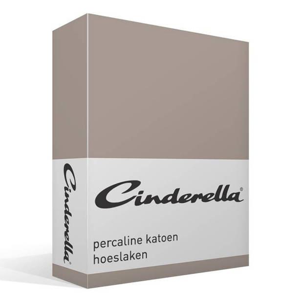 Cinderella Basic percaline katoen hoeslaken - 100% percaline katoen - 1-persoons (70x200 cm) - Taupe