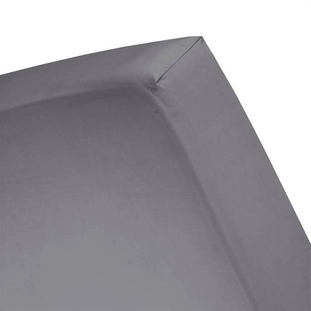 Cinderella Basic percaline katoen hoeslaken - 100% percaline katoen - 2-persoons (120x200 cm) - Anthracite