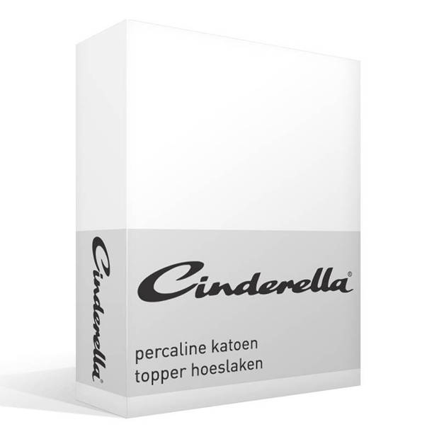Cinderella basic percaline katoen topper hoeslaken - 100% percaline katoen - 1-persoons (90x200 cm) - White