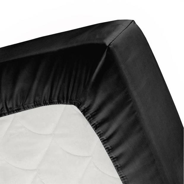 Cinderella basic percaline katoen hoeslaken - 100% percaline katoen - 1-persoons (90x220 cm) - Black