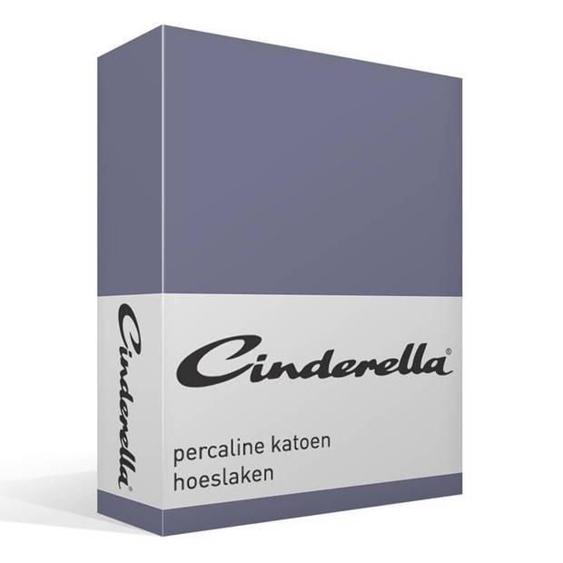 Cinderella basic percaline katoen hoeslaken - 100% percaline katoen - 2-persoons (120x200 cm) - Dark Blue