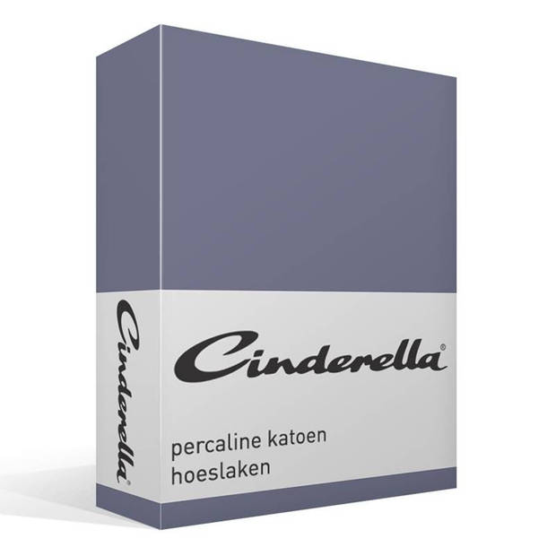 Cinderella basic percaline katoen hoeslaken - 100% percaline katoen - 1-persoons (90x200 cm) - Dark Blue