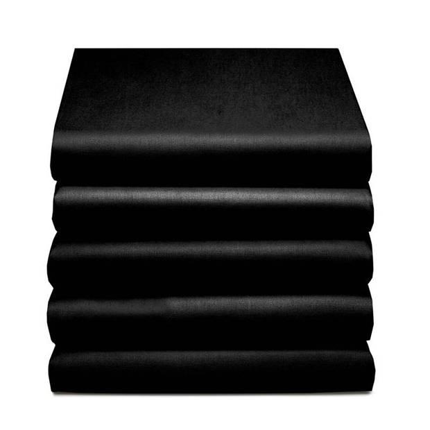 Damai dubbel jersey hoeslaken - 100% dubbel gebreide jersey katoen - 2-persoons (140/150x200/210/220 cm) - Black