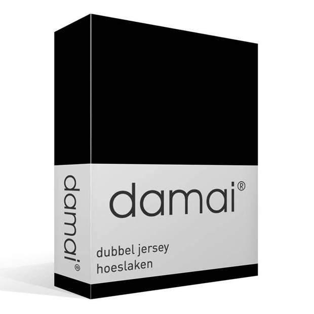 Damai dubbel jersey hoeslaken - 100% dubbel gebreide jersey katoen - 2-persoons (120/130x200/210/220 cm) - Black
