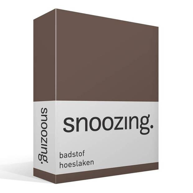 Snoozing badstof hoeslaken - 80% katoen - 20% polyester - 2-persoons (120/130/140x200 cm) - Taupe