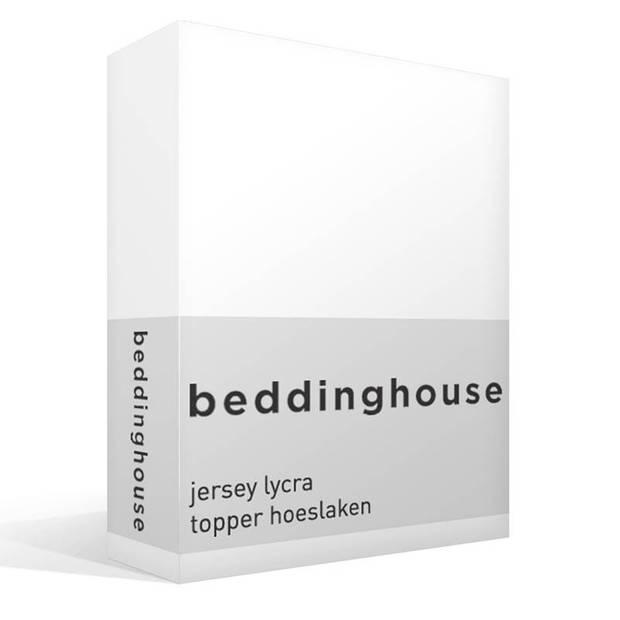 Beddinghouse jersey lycra topper hoeslaken - 95% gebreide katoen - 5% lycra - 1-persoons (90/100x200/220 cm) - White