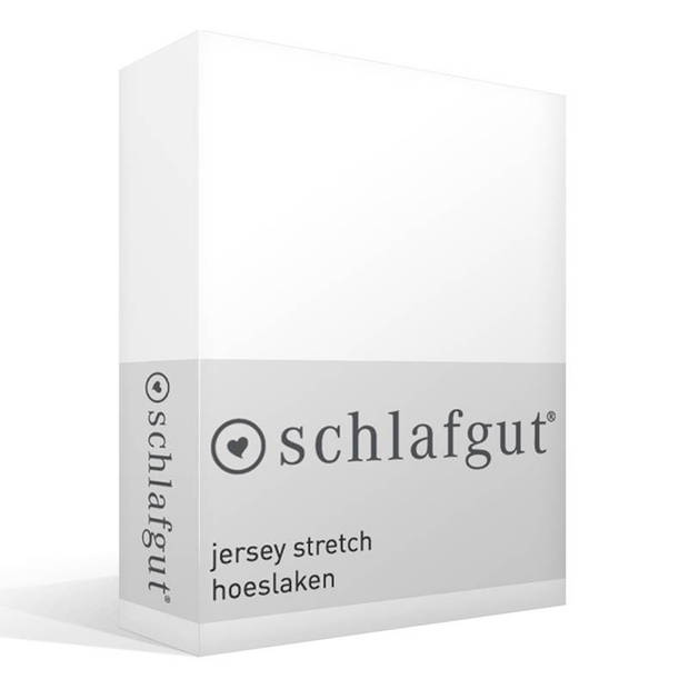 Schlafgut jersey stretch hoeslaken - 95% gebreide jersey katoen - 5% elastan - 2-persoons (140/160x200/220 cm) - Wit