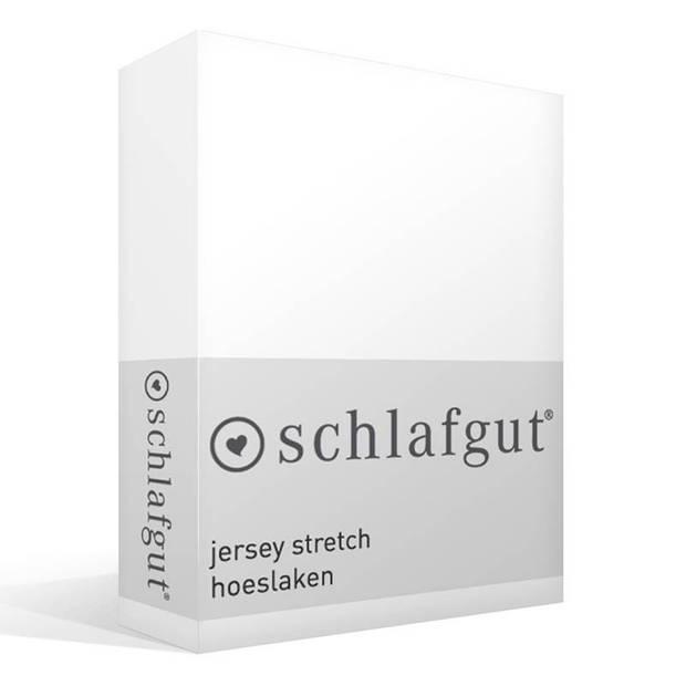 Schlafgut jersey stretch hoeslaken - 95% gebreide jersey katoen - 5% elastan - 2-persoons (120/130x200/220 cm) - Wit