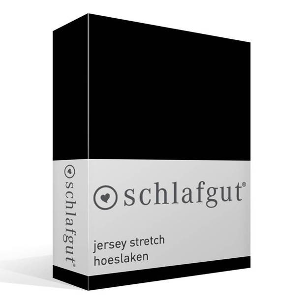 Schlafgut jersey stretch hoeslaken - 95% gebreide jersey katoen - 5% elastan - 1-persoons (90/100x190/220 cm) - Zwart