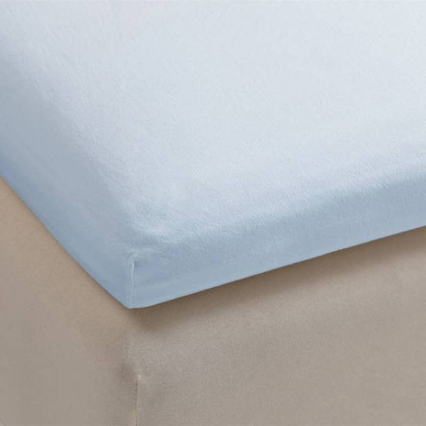 Beddinghouse jersey lycra topper hoeslaken - 95% gebreide katoen - 5% lycra - 1-persoons (70/80x200/220 cm) - Light blue
