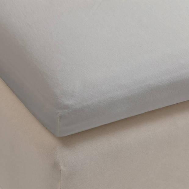 Beddinghouse jersey lycra topper hoeslaken - 95% gebreide katoen - 5% lycra - 1-persoons (70/80x200/220 cm) - Light grey