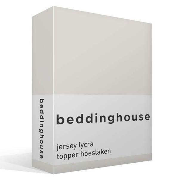 Beddinghouse jersey lycra topper hoeslaken - 95% gebreide katoen - 5% lycra - 1-persoons (90/100x200/220 cm) - Off-white