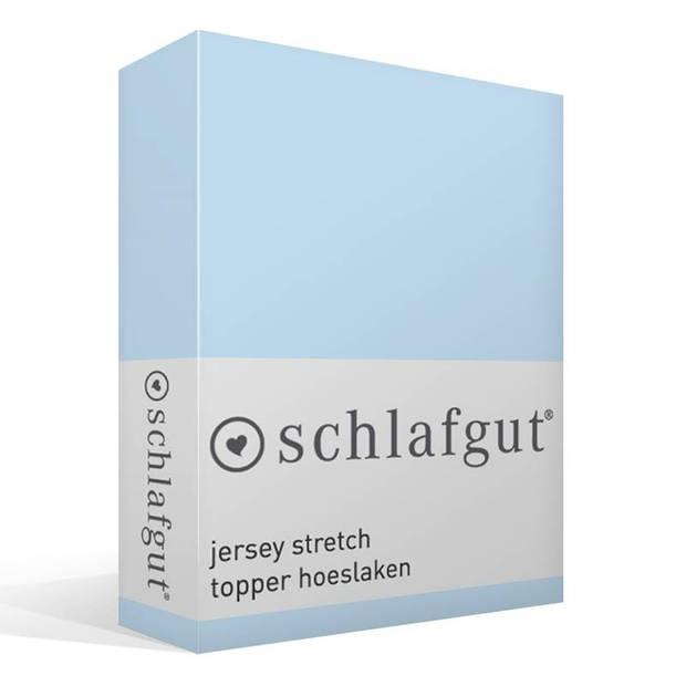 Schlafgut jersey stretch topper hoeslaken - 95% gebreide katoen - 5% elastan - 1-persoons (90/100x190/220 cm) - Aqua
