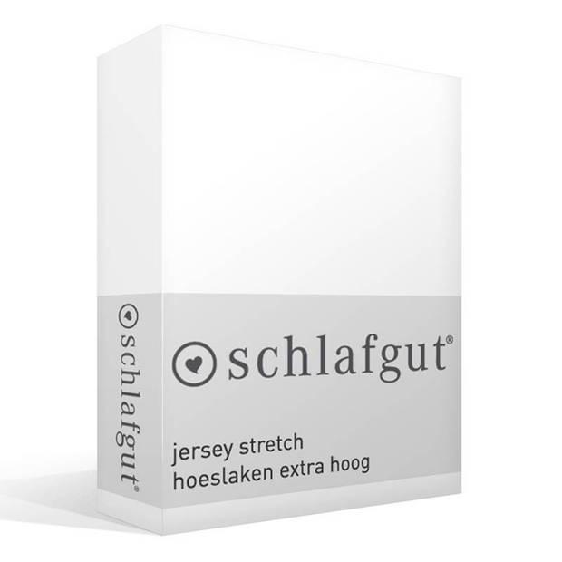 Schlafgut Jersey stretch hoeslaken extra hoog - 95% gebreide katoen - 5% elastan - 2-persoons (120/130x200/220 cm) - Wit