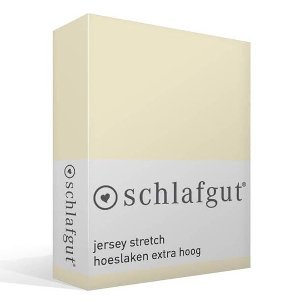 Schlafgut Jersey stretch hoeslaken extra hoog - 95% gebreide katoen - 5% elastan - 1-persoons (90/100x190/220 cm) - Ecru