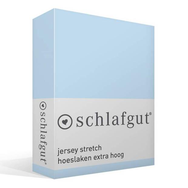 Schlafgut Jersey stretch hoeslaken extra hoog - 95% gebreide katoen - 5% elastan - 1-persoons (90/100x190/220 cm) - Aqua
