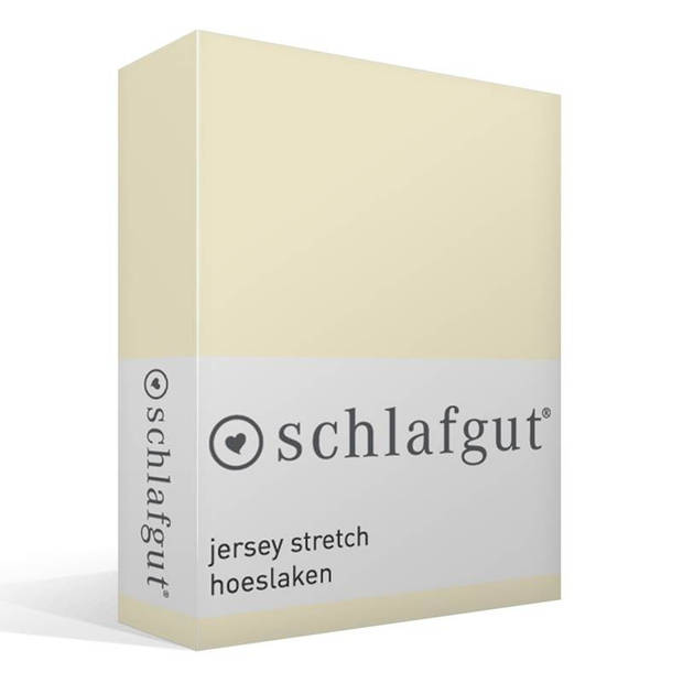 Schlafgut Jersey stretch hoeslaken - 95% gebreide jersey katoen - 5% elastan - Lits-jumeaux (180/200x200/220 cm) - Ecru