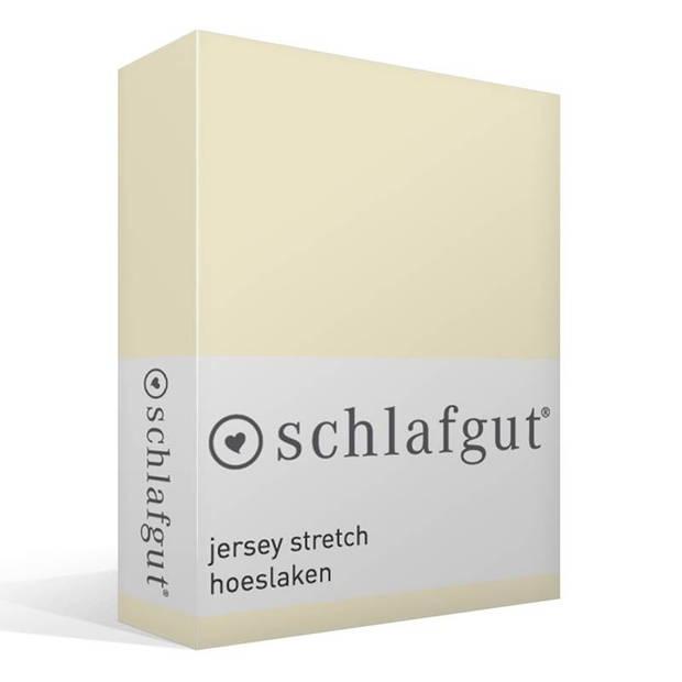 Schlafgut Jersey stretch hoeslaken - 95% gebreide jersey katoen - 5% elastan - 2-persoons (120/130x200/220 cm) - Ecru