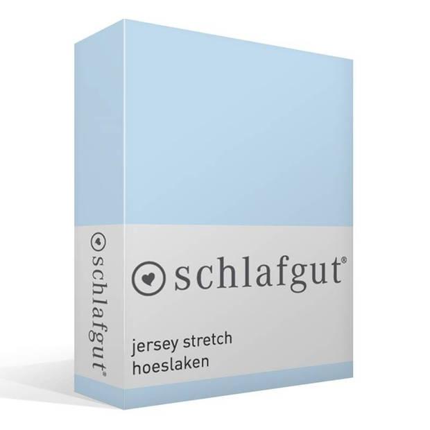Schlafgut jersey stretch hoeslaken - 95% gebreide jersey katoen - 5% elastan - 1-persoons (90/100x190/220 cm) - Aqua